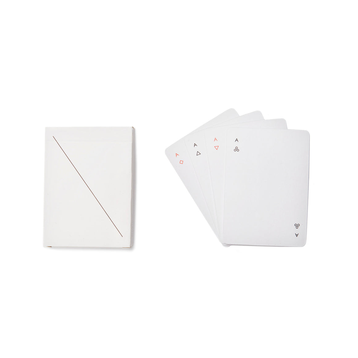 A pack of playing cards with a minimalist style. The cards are mostly white, with simplified symbols. The card pack is shown next to the four aces.