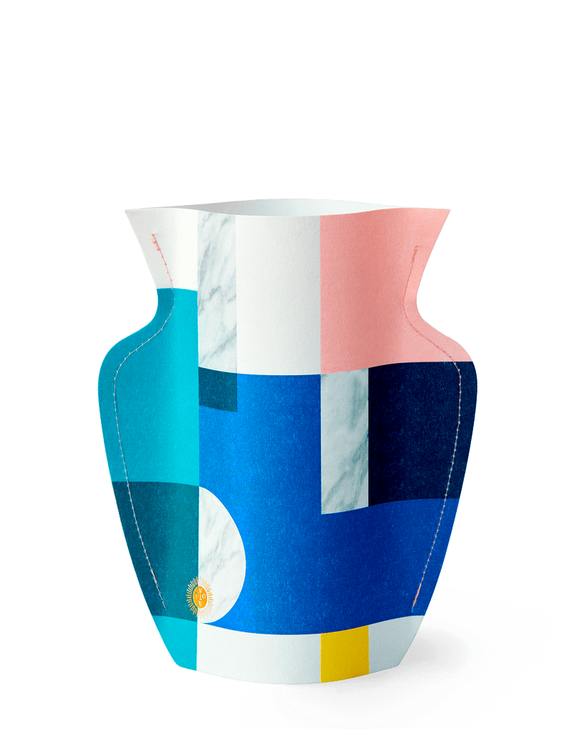 Paper Vase featuring Mediterranean Scala print with multiple colours highlighting a graphic geometric pattern