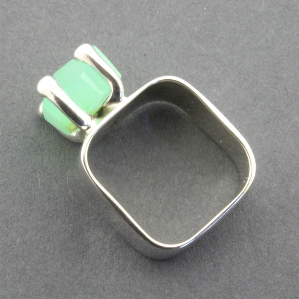 Ring | Sterling Silver & Chryophase | Square Claw