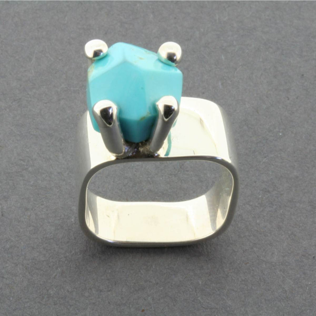 Ring | Sterling Silver & Turquoise | Square Claw