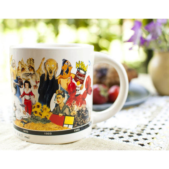 A white mug that is printed with a collage depicting the timeline of major works of Art through history.