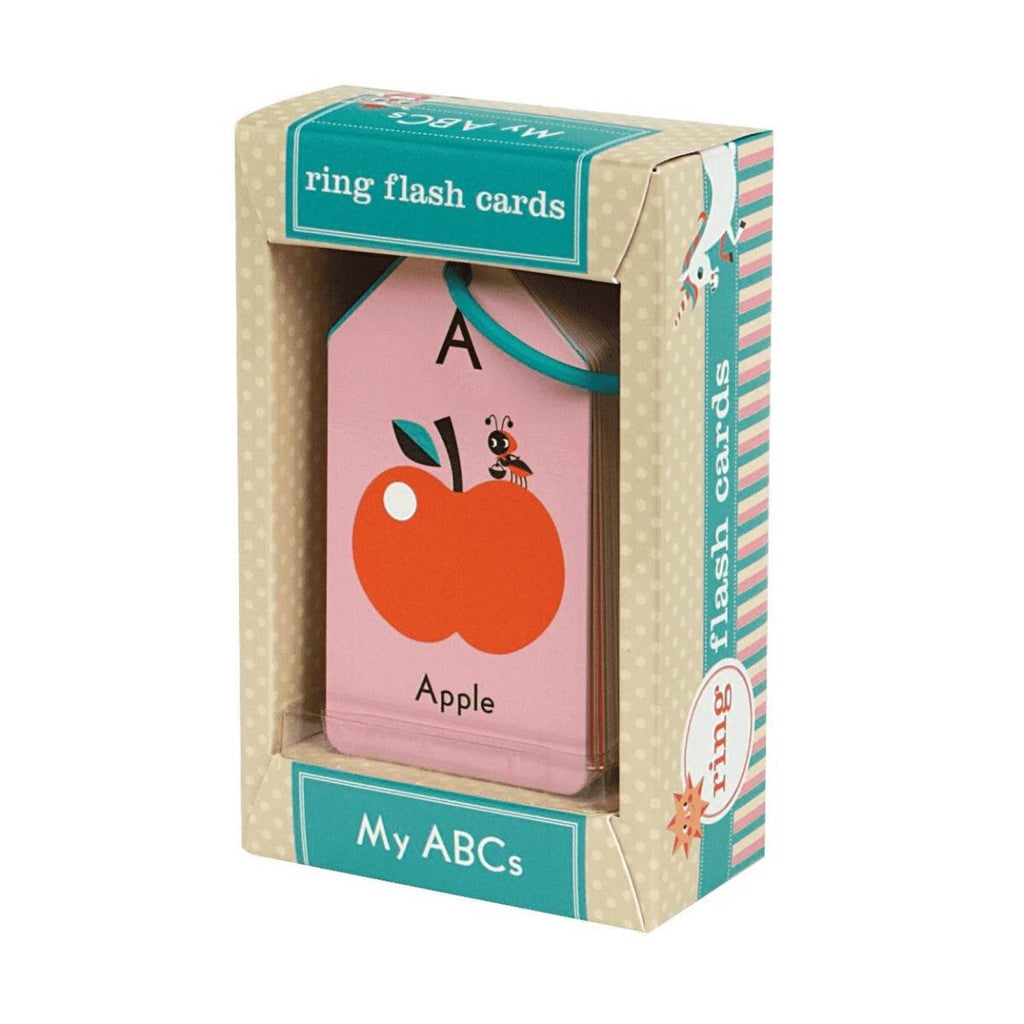 a boxed set of children's Alphabet flash cards. The front cards shows the letter A, the word Apple and a lovely illustration of an Apple and an Ant.
