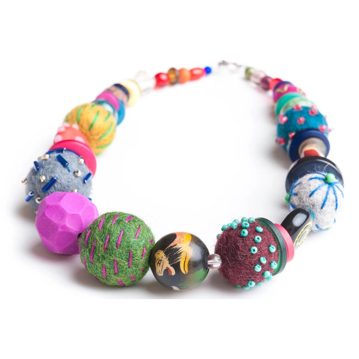 Necklace | Multicolour Mixed Media Chunky Felt Beads | Syrah Jay
