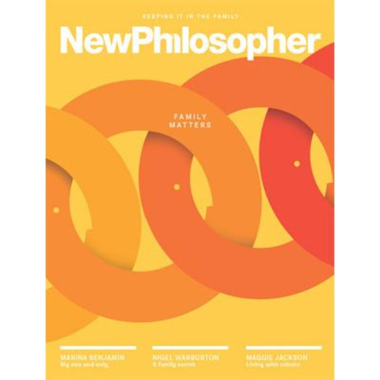 New Philosopher Magazine featuring the colours yellow, orange and red including the words family matters