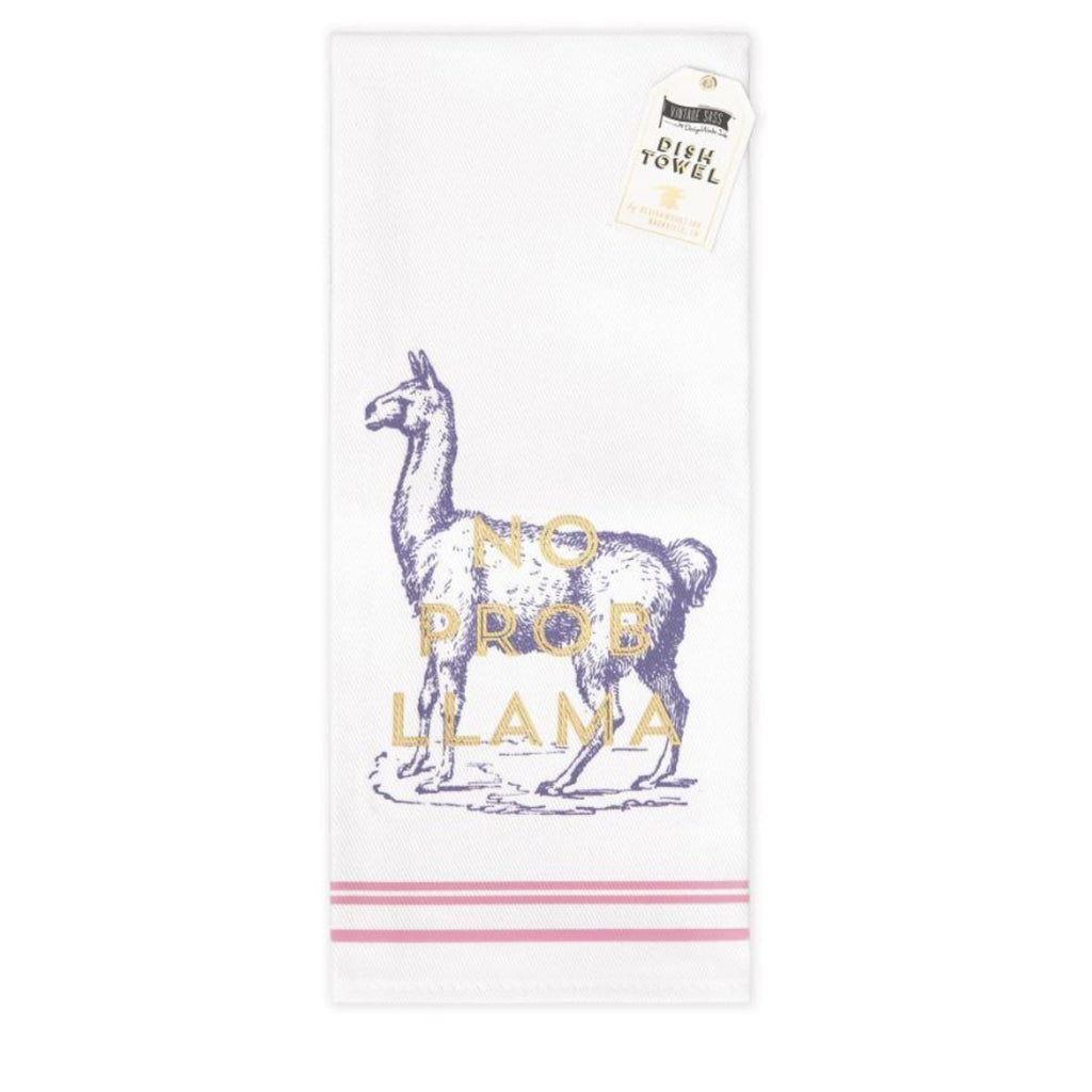 Tea Towel featuring a vintage inspired screen print of a llama featuring a golden accent quote stating no prob llama