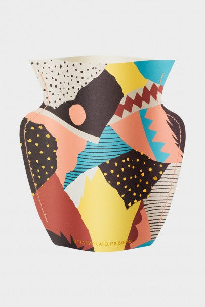 Paper Vase featuring Atelier Bingo Vesuvio Print in a variety of colours