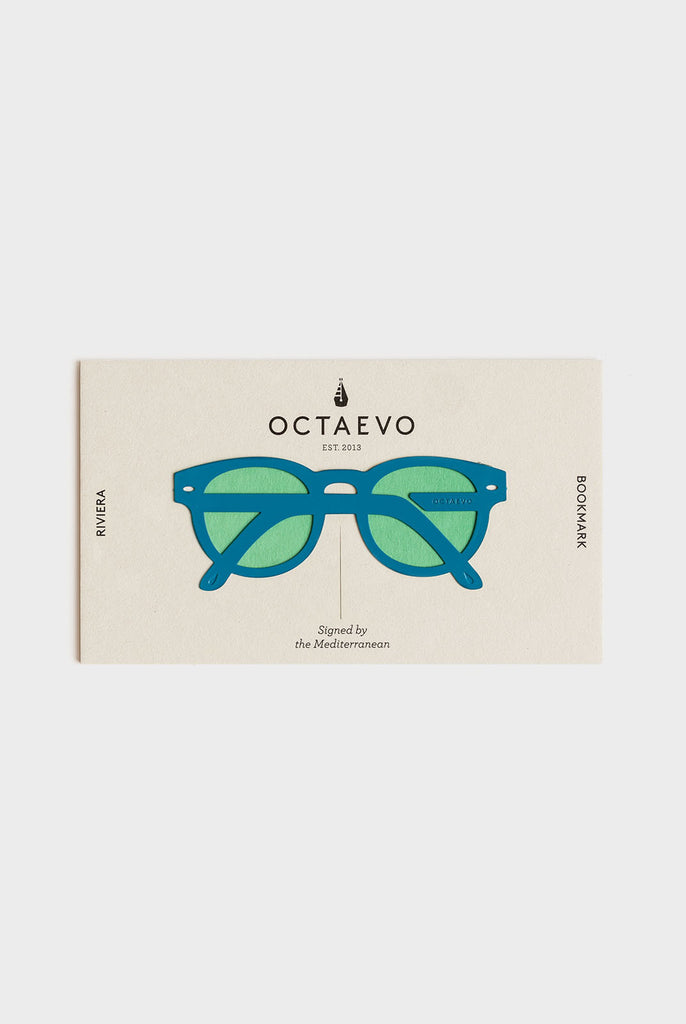 Bookmark featuring a pair of sunglasses in blue and mint