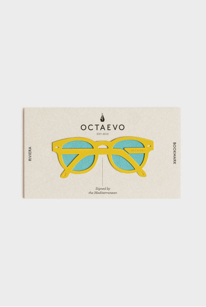 Bookmark featuring a pair of sunglasses in yellow and mint