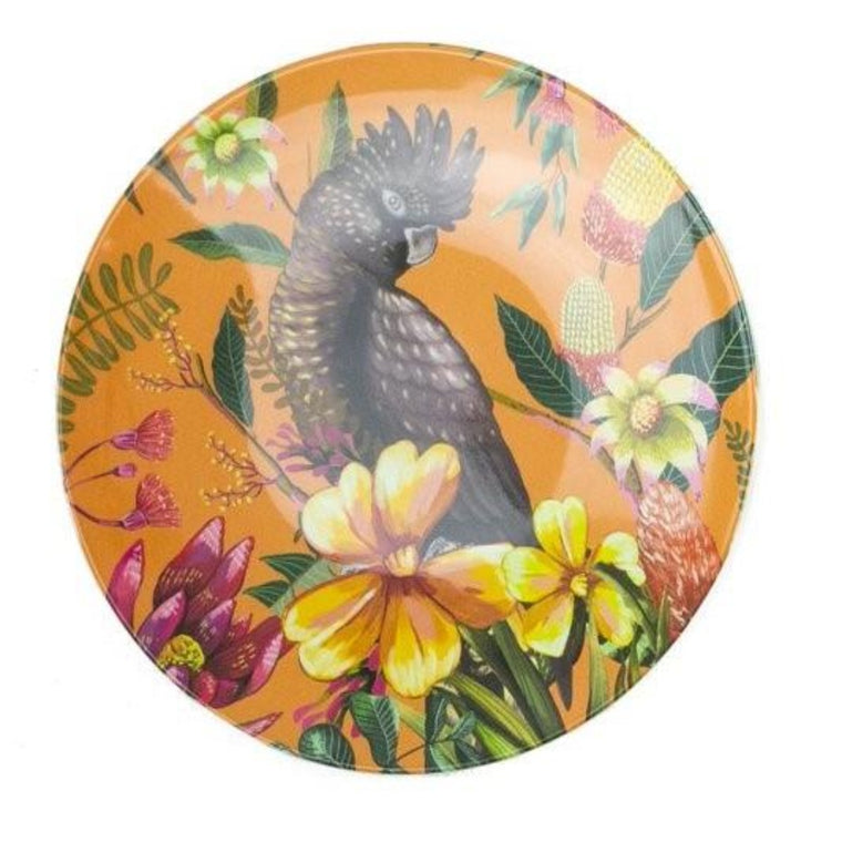 Enamel plate featuring an australian floral pattern with a black cockatoo