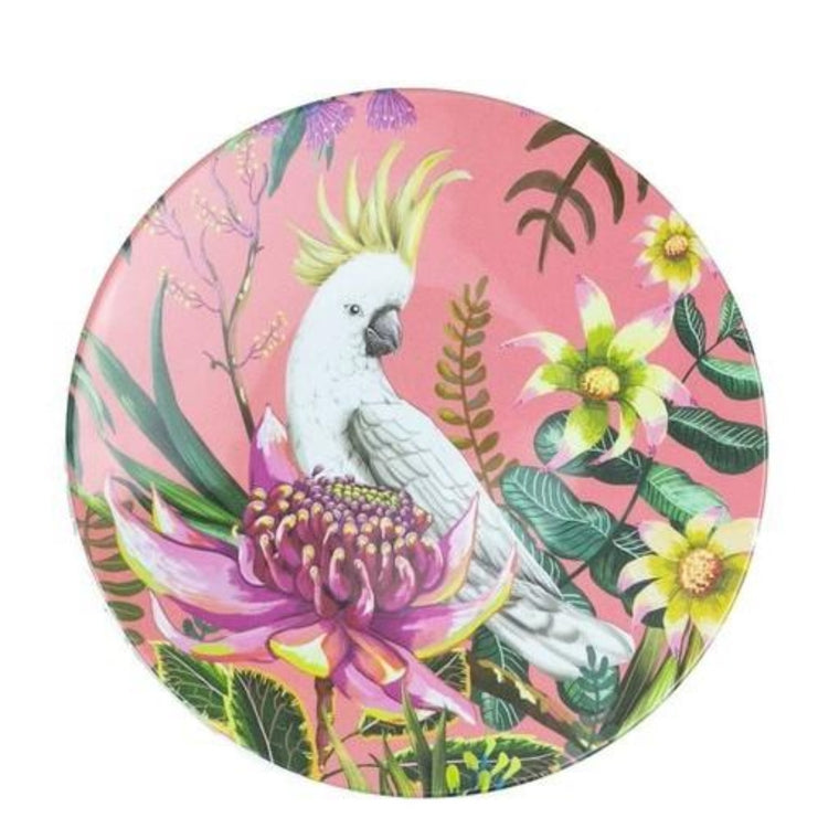 Enamel plate featuring an australian floral pattern with a cockatoo