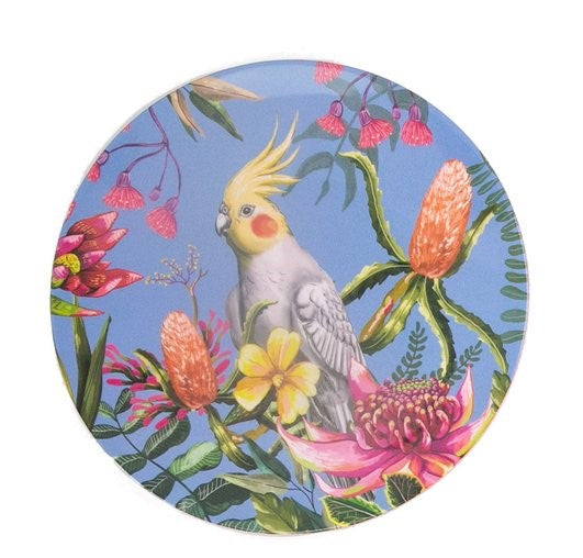 Enamel plate featuring an australian floral pattern with a red cheeked cockatiel