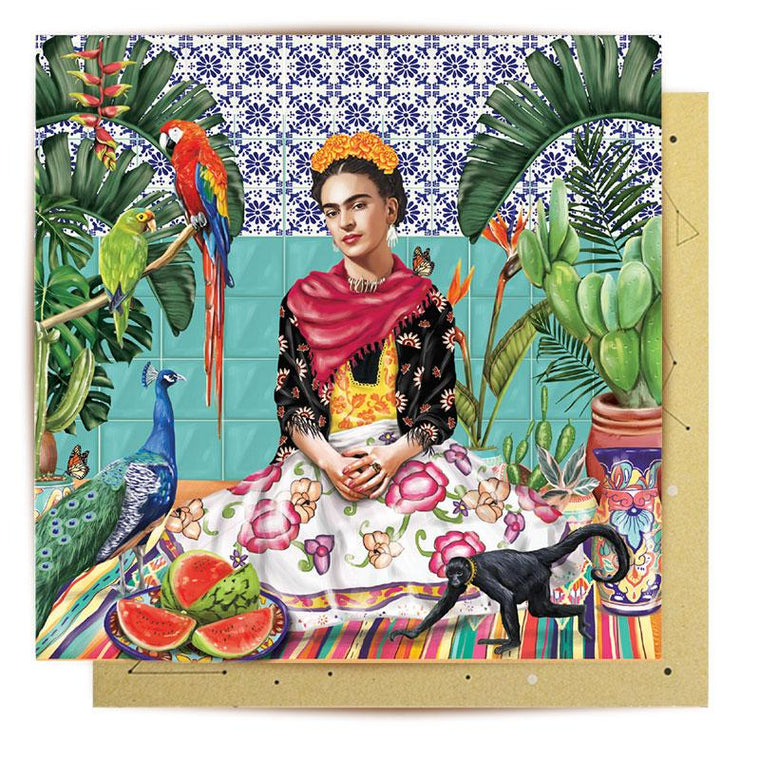 Greeting Card featuring illustration of Frida Kahlo, floral background featuring birds and monkey