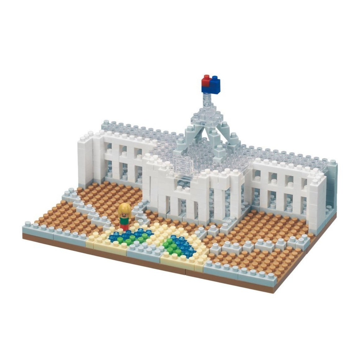Micro-sized building blocks to replicate intricate detail of the Parliament House featuring colours clear, white, brown, green, blue, red