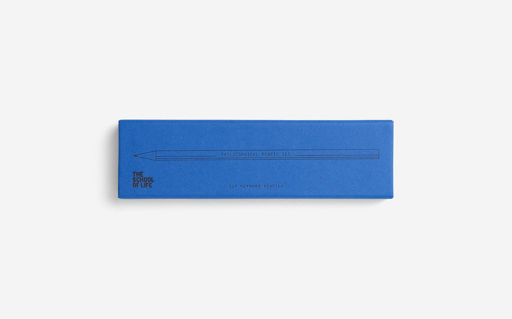 The School of Life pencil set with blue packaging featuring the word Philosophical set
