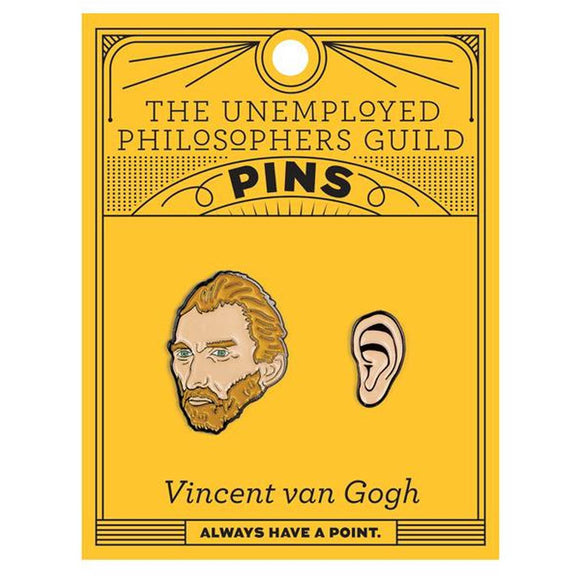 A set of two Enamel pins. One is a portrait of Vincent Van Gogh, the other is his Ear.