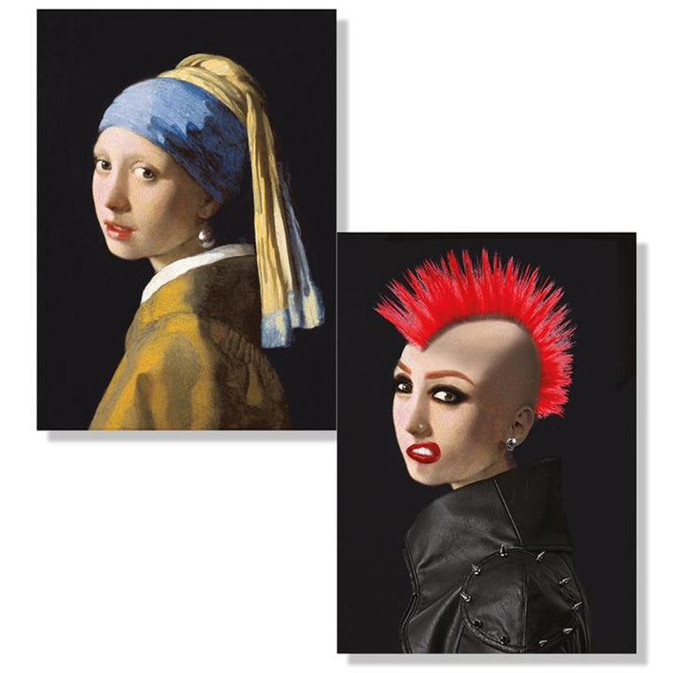 A depiction of the two images of the artwork Girl with a Pearl Earring. The first image shows the traditional painting. The second show s the subject transformed into a punk rocker with a leather jacket, red mohawk, piercings and heavy makeup.