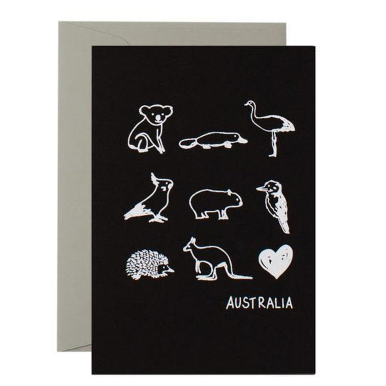Black Greeting Card with White graphic illustrations of australian animals including the text Australia