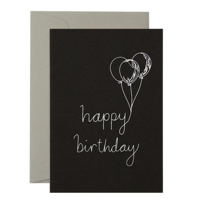 Black Greeting Card with white text and a graphic illustration of balloons with the words happy birthday