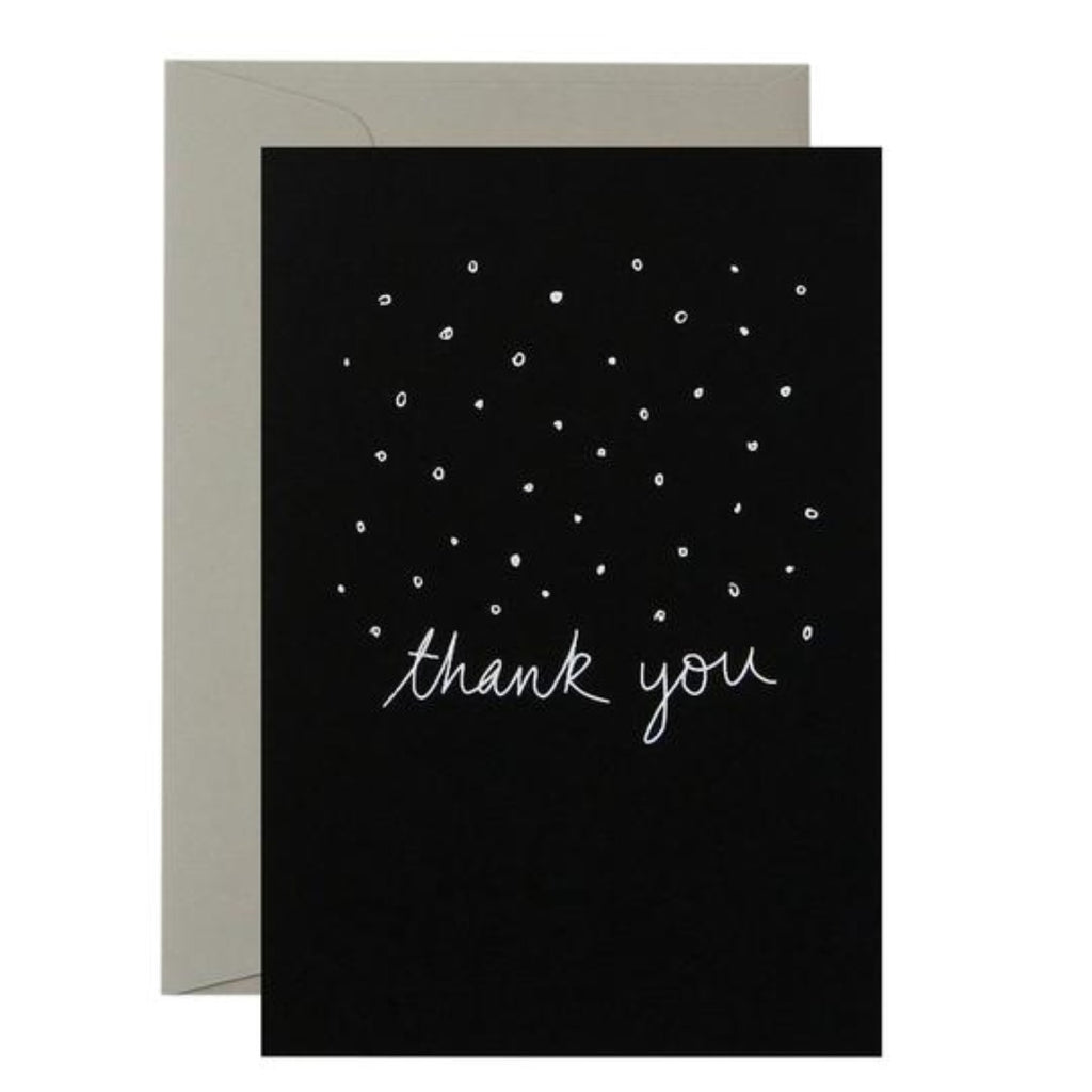 Black Greeting Card with white text saying thank you