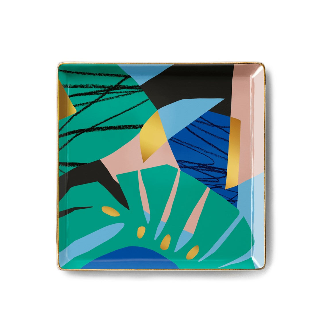 A square ceramic tray with a tropical abstract design featuring tropical leaf shapes and block abstract shapes in black, green, pink, blue, gold.