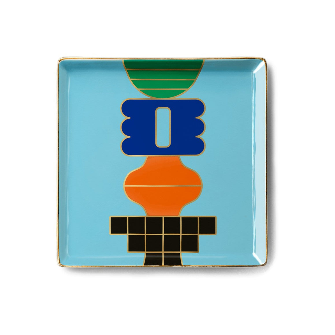 A square ceramic tray with a geometric abstract design. Linework in gold and glazed with green. blue, orange, black and light blue