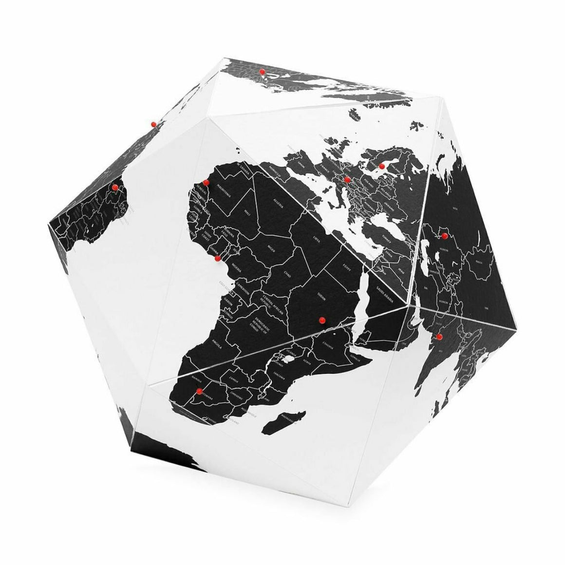 Black and White Fold-able World Globe Small