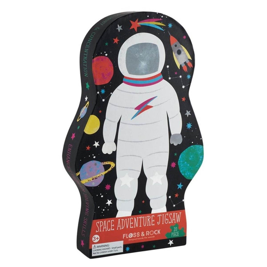 An astronaut and Space themed children's puzzle in a uniquely shaped box.