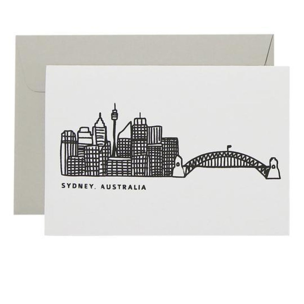 White Greeting Card featuring a graphic illustration of the Sydney Skyline with the words Sydney, Australia