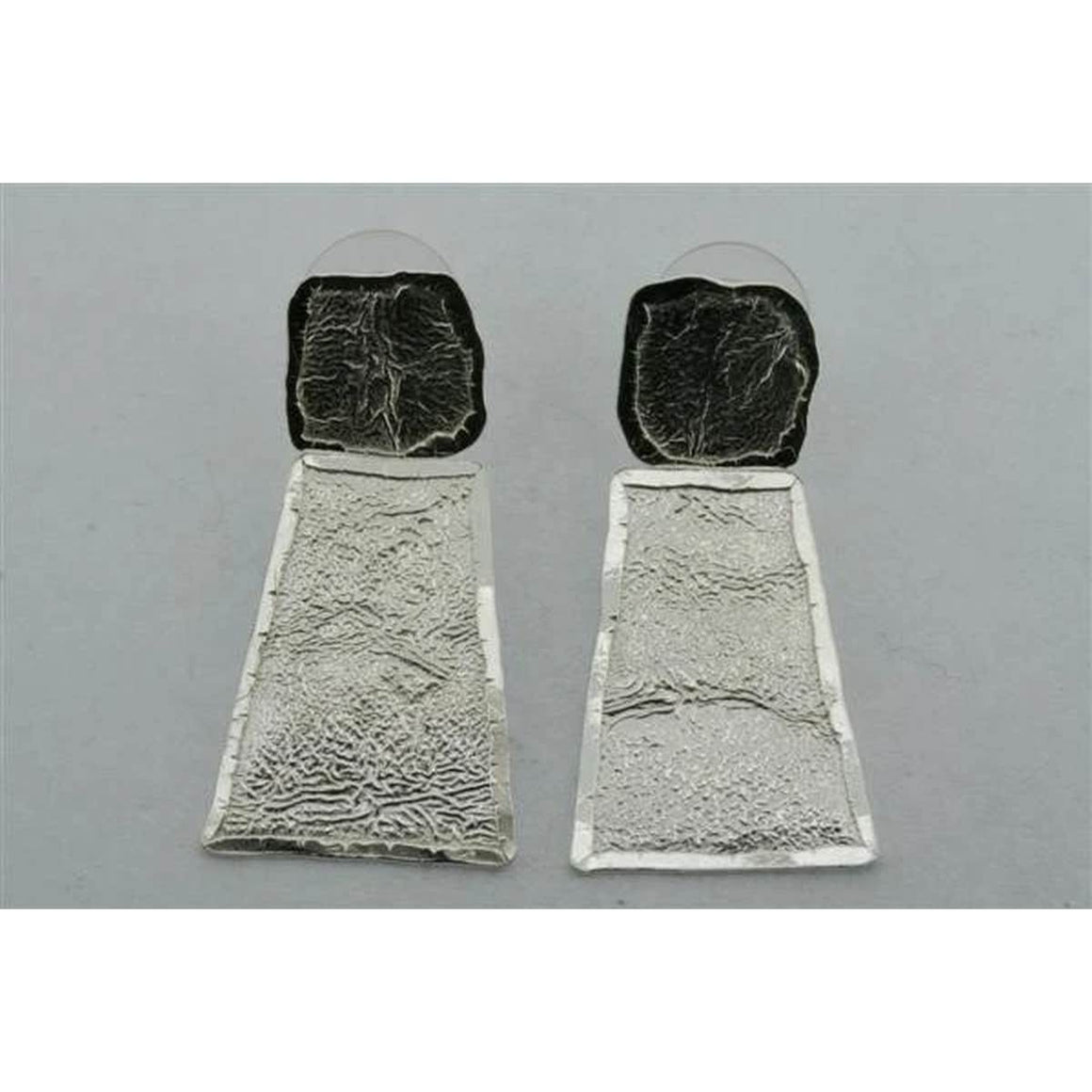 Earrings | Sterling Silver | Textured Wedge Drop