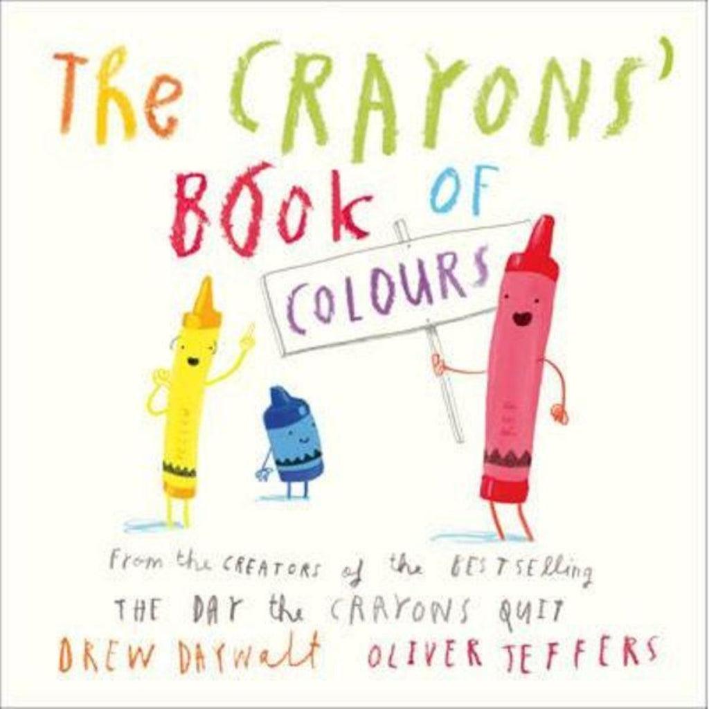 Book cover featuring a white background with graphic illustrations of crayons