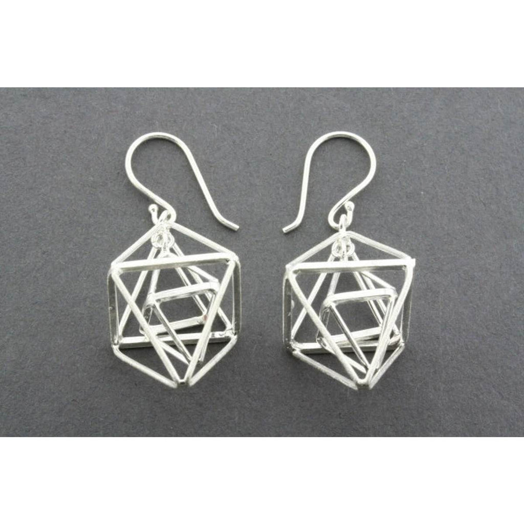 A sterling silver pair of drop earrings each consisting of a double pyramid suspended within another double pyramid