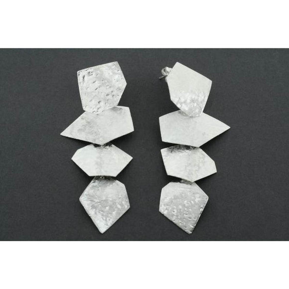 A pair of sterling silver drop earrings consisting of four irregular shards of textured silver linked together.