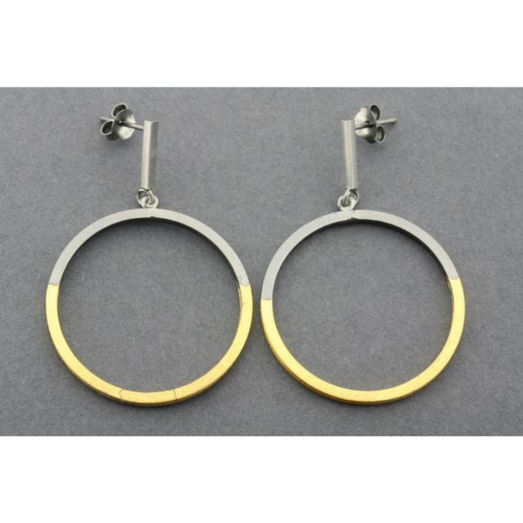 An Art Deco inspired pair of drop earrings featuring a Gold and silver Hoop suspended from a silver bar.