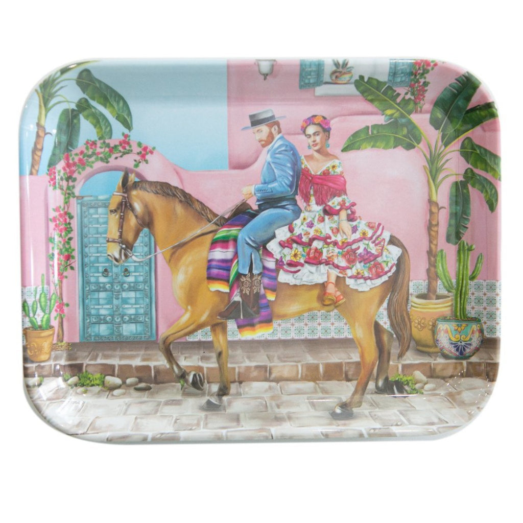 Enamel tray featuring a mexican city background, horse and artists frida kahlo and vincent van gogh