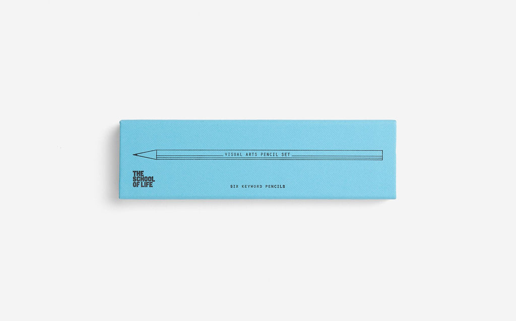 The School of Life pencil set with light blue packaging featuring the word visual arts pencil set