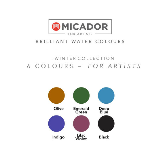 A disc of Watercolour paints in a Winter colour theme including: Olive, Emerald Green, Deep Blue, Indigo, Lilac Violet & Black. It is shown next to example paint sampler.
