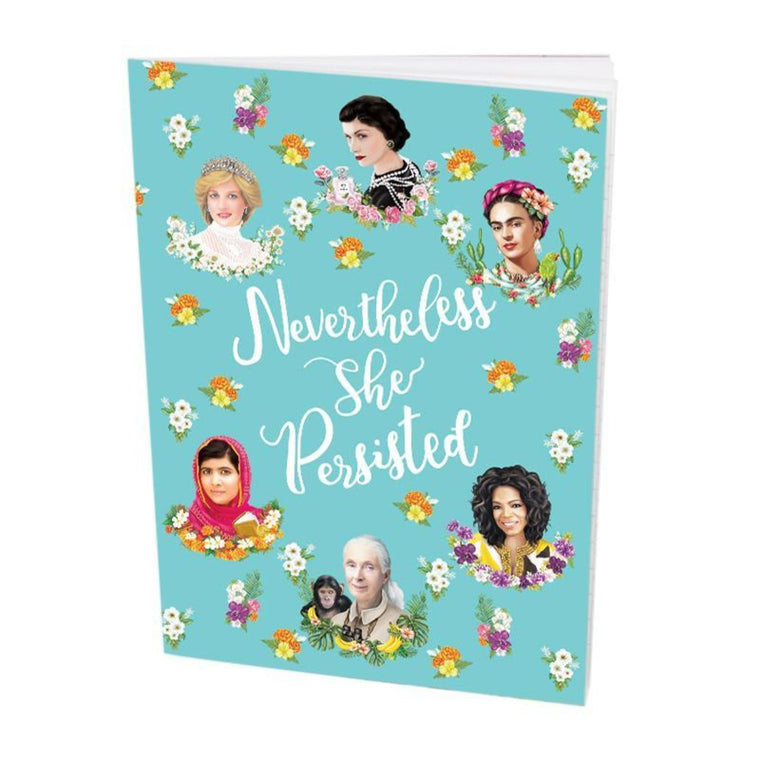 Pocket Book featuring an illustration of various inspirational women and the words Never the less she persisted