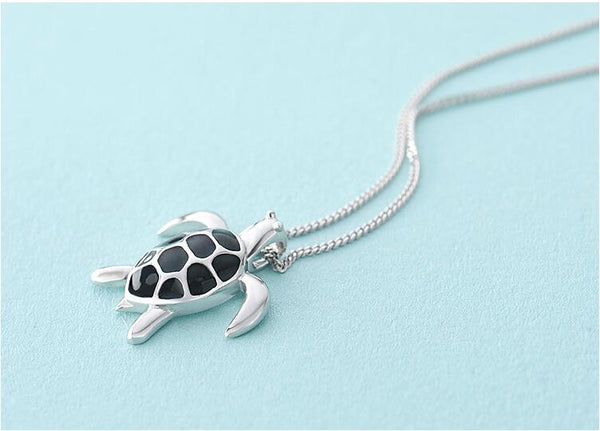Silver Black Turtle Pendant Necklace