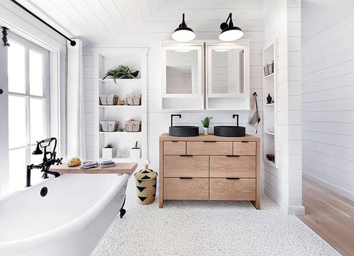 Cotton & Clay - White bathroom with storage