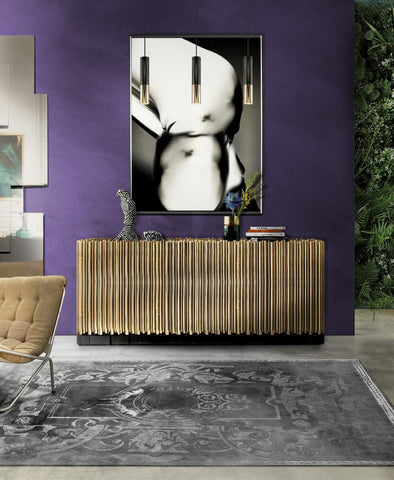 Metallic interior with ultra violet wall