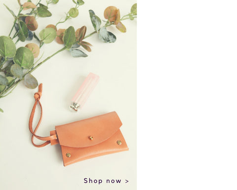 Cotton & Clay Tan Leather Card Pouch with Lipstick