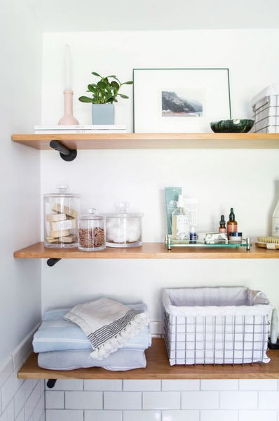 Cotton & Clay - Bathroom open shelf styling