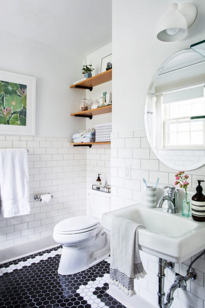 Cotton & Clay - Organising bathroom storage with open shelves