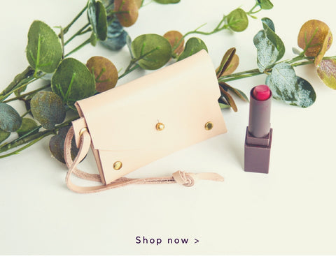 Cotton & Clay - Light Blush Leather Card Holder with Lipstick
