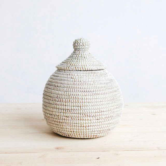 Cotton & Clay - White Lidded Gourd Basket
