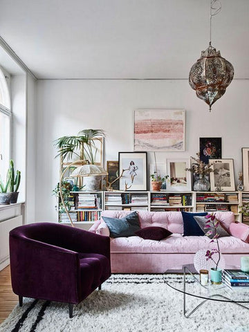 Scandi interior with ultra violet chair