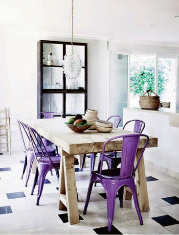 Black and White dining with Ultra Violet chairs