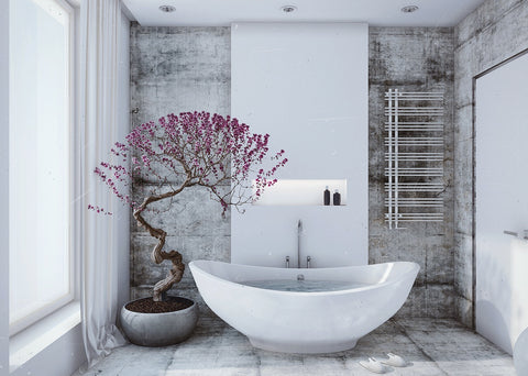 White bathroom with violet tree
