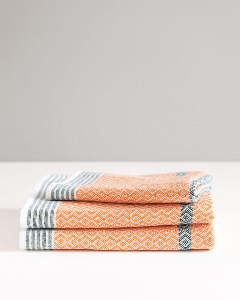Cotton & Clay Itawuli Towel - Nectarine & Dark Green