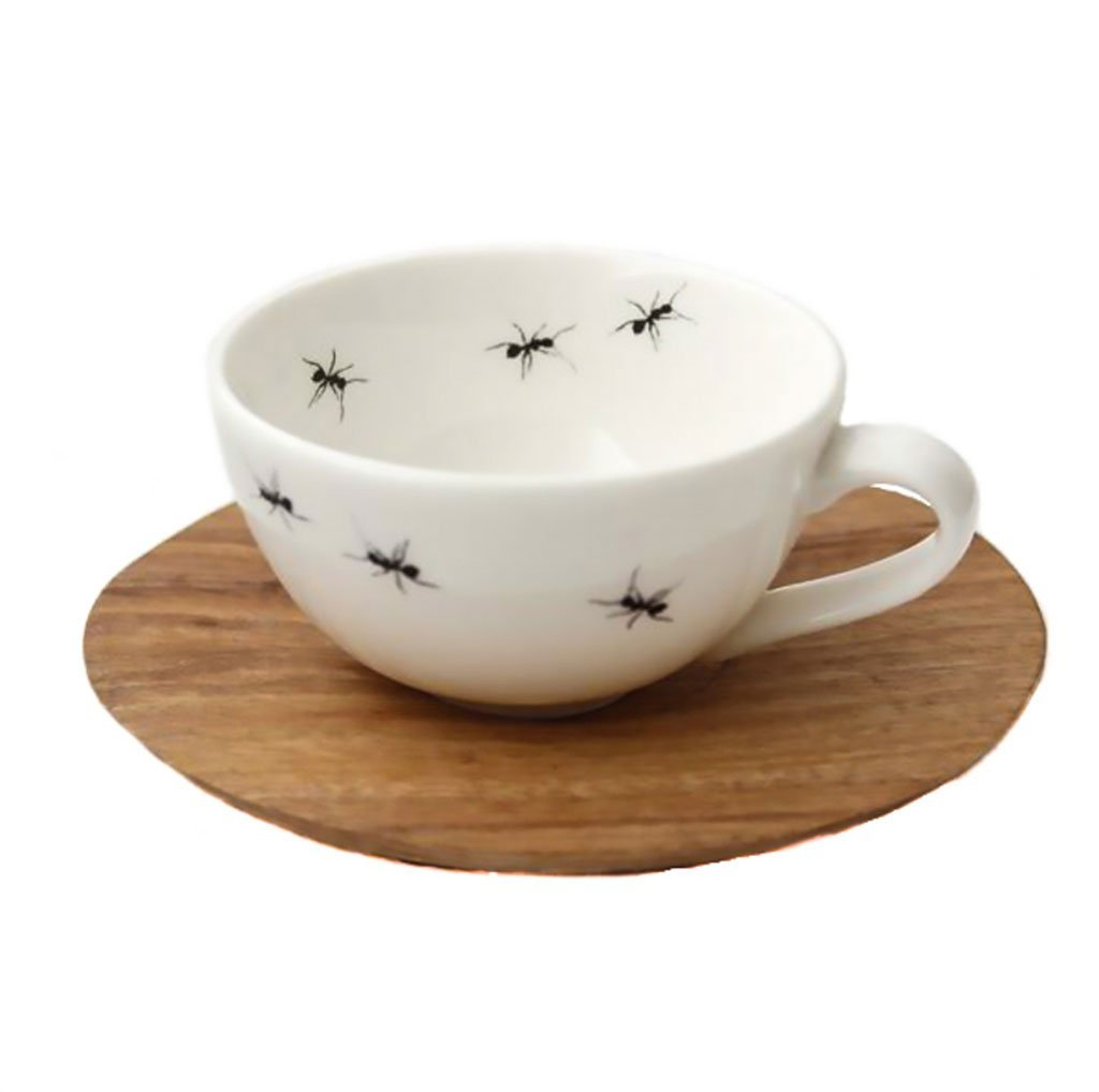 Cotton & Clay Ant Espresso Cup & Saucer - White/Black
